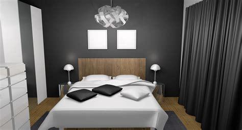 chambre grise et blanche chambre adulte moderne chic laqué blanc gris teck