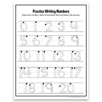 writing numbers 1 20 tracing numbers formation trace