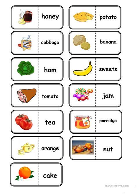 food domino worksheet  esl printable worksheets