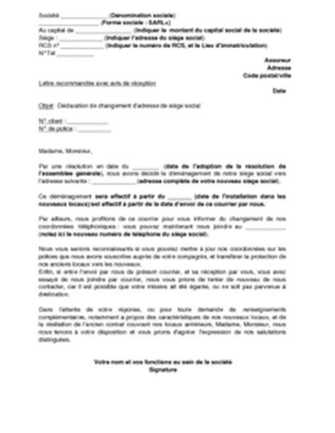 changement siege social association lettre de déclaration de changement de siège social à l