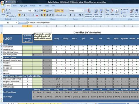 budget worksheet in excel instant by