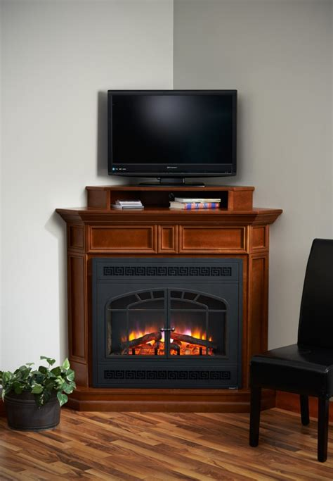 corner electric fireplace tv stand brown wooden fireplace with shelf above combined with