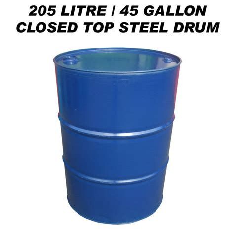 gallon to liters uk 205 litre 45 gallon closed top steel drum barrel container for diesel gasoil bbq ebay