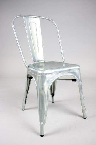 stella metal cafe side chair in brushed galvanized finish