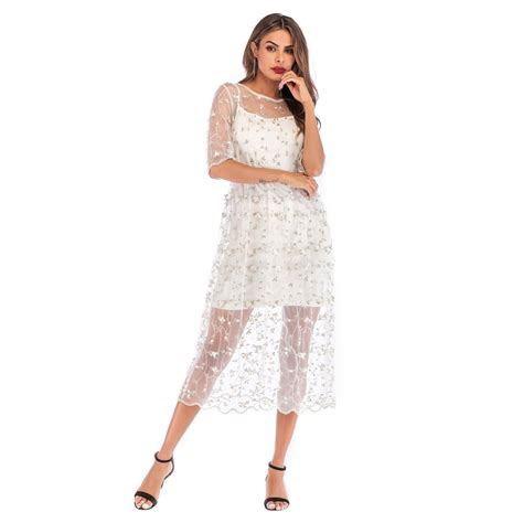 2019 new embroidery dresses runway floral bohemian flower embroidered 2 pieces vintage
