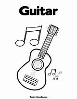 Coloring Guitar Pages Notes Printable Electric Musical Colouring Sheets Guitars Clipart Note Twistynoodle Instruments Preschool Templates Twain Shania Instrument Library sketch template