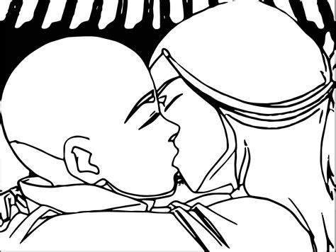 Aang And Katara Kiss Avatar Aang Coloring Page