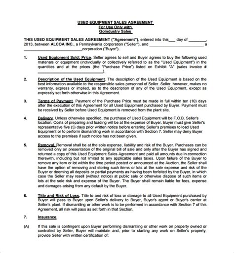 sample equipment purchase agreement templates