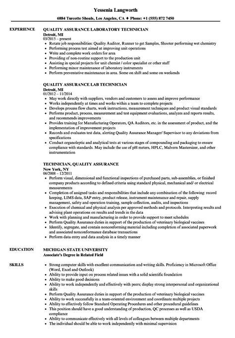 Quality Technician Resume Sle by Technician Quality Assurance Resume Sles Velvet