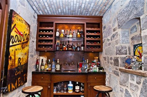 whiskey cellar traditional home bar  metro