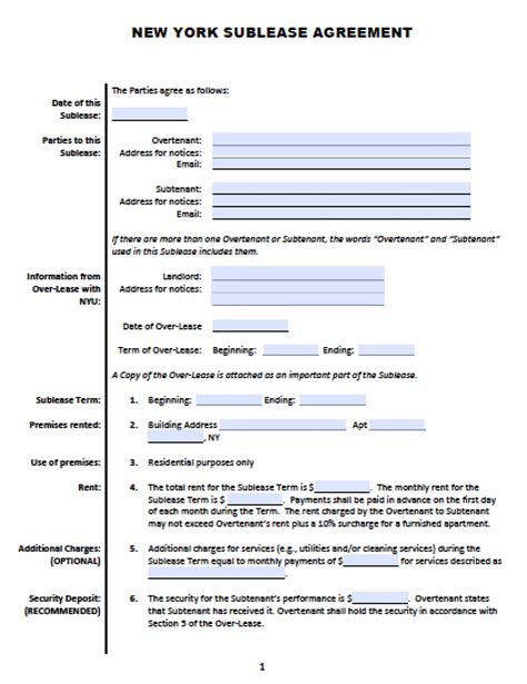 york sublease roommate agreement template
