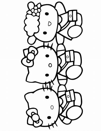 Kitty Hello Coloring Pages Friends Printable Cartoon