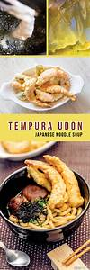 Japanese Tempura Udon Noodle Soup Recipe (Shrimp & Vegetable)