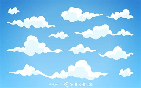 illustrated cartoon clouds background vector