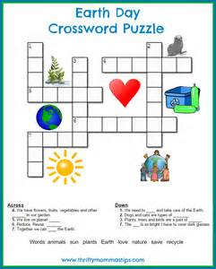 Earth Day Crossword Puzzle for Kids Printable