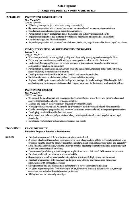 investment banking resume template investment banker resume sles velvet