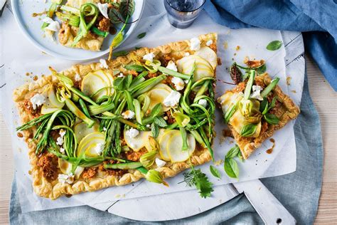 spring vegetable tart recipes deliciouscomau