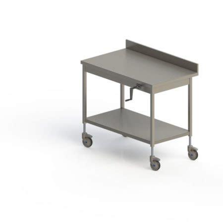 table inox adoss 201 e mobile hauteur r 201 glable manuelle pieds carr 201 s avec 201 tag 200 re basse happymanut