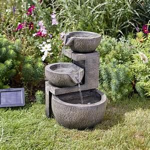 Fontaine A Eau Exterieur : fontaine solaire cascade 3 niveaux genoa solairepratique ~ Carolinahurricanesstore.com Idées de Décoration