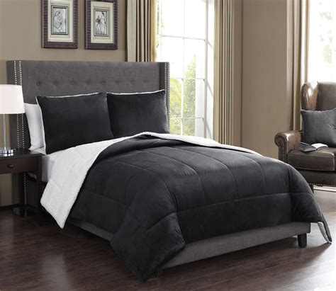 3 piece king microsuede sherpa comforter set black ebay