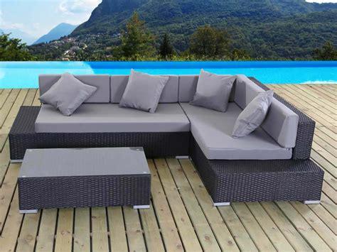 vente privée canapé d angle salon de jardin en résine tressée cadix quot atlanta quot noir