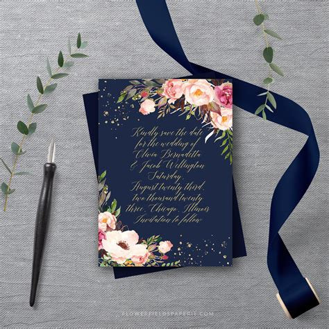 boho save  date template navy  pink save  date