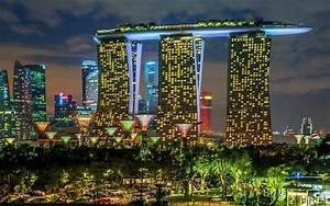 Singapore cities buildings skyscrapers night lights ...