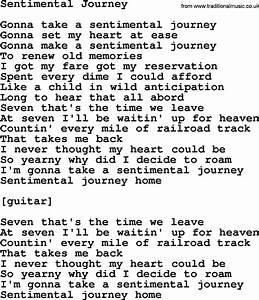 Willie Nelson song: Sentimental Journey, lyrics