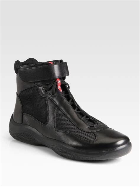 High Top by Prada Americas Cup High Top Sneakers In Black Lyst