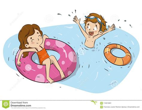 Children With Float Water Rings Illustration Stock