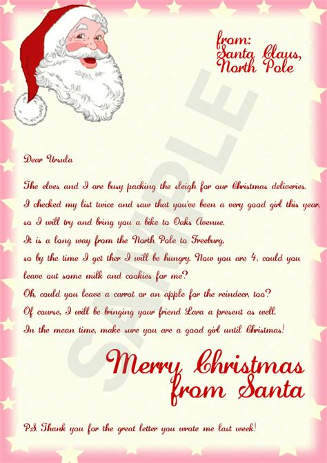 Letter From Santa Template Word Letter From Santa Template Cyberuse