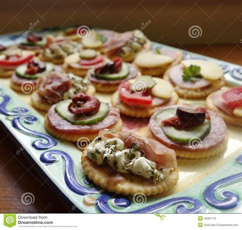 canape platters platter of canapes stock image image of leaf