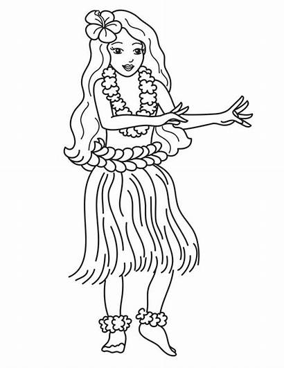 Coloring Hawaiian Hula Pages Dance Hawaii Dancer