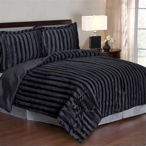 14274 fur bed set cozy nights 3pc comforter set black mink faux fur