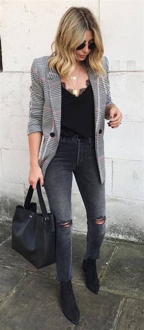 14 Ways To Wear A Gray Plaid Blazer Outfit And Look Up To