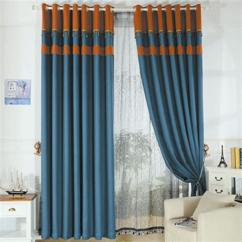 shabby chic blue essential home curtains of linen and cotton