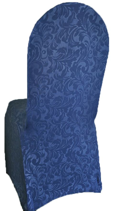 navy blue embossed spandex stretch chair covers