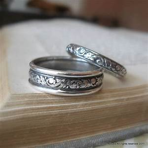Scroll Pattered Wedding Band Set Sterling Silver Wedding Rings