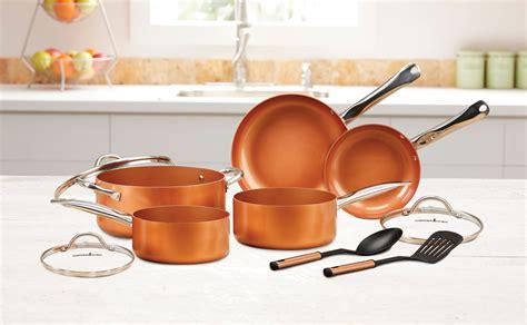 copper chef nonstick coating cookware pot  pan lid