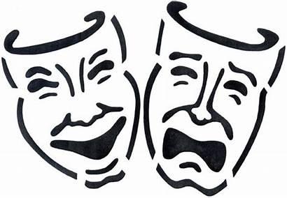 Stencil Drama Masks Clip Theatre Comedy Theater