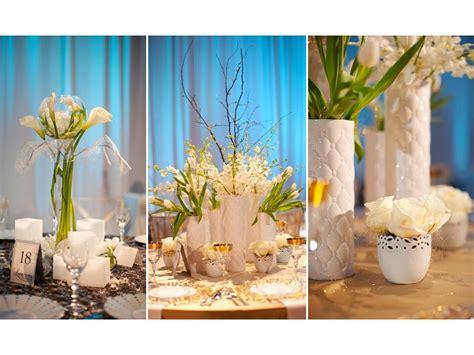 unique white  blue wedding flower centerpieces