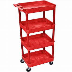 Luxor H Wilson RDSTC1111RD Red 4 Tub Utility Cart 18