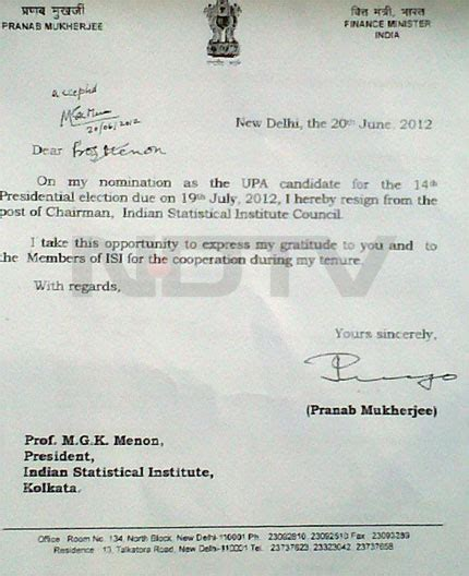 pranab mukherjees letter  resignation  head