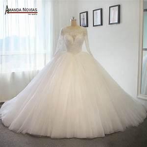 long train wedding dress luxury puffy ball gown princess With puffy princess wedding dresses