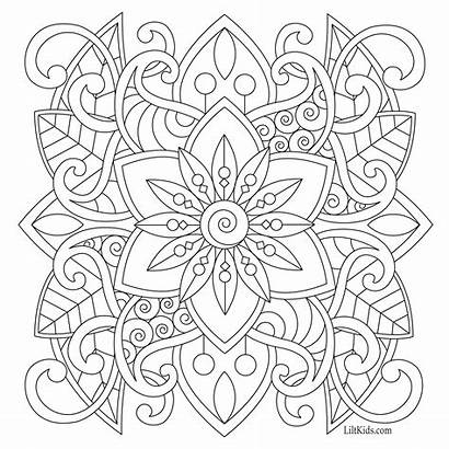 Coloring Adult Pages Simple Easy Mandala Printable