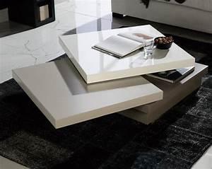 Table Basse Blanc Gris : table basse carr e pivotante laqu blanc gris et taupe matiss ~ Teatrodelosmanantiales.com Idées de Décoration