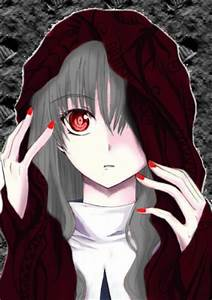 Post an anime character with grey hair and red eyes ...