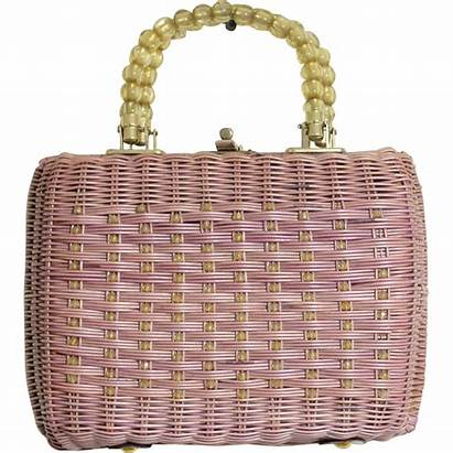 Purse Basket Lavender Wicker 1950s Bag 50s