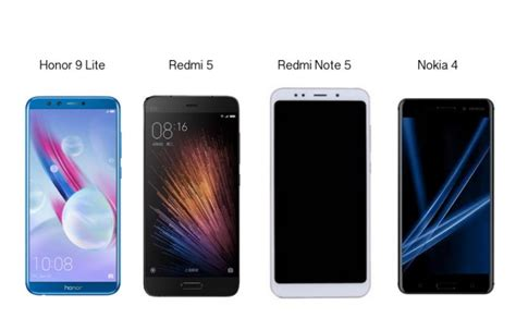 redmi note 5 vs honor 9 lite vs redmi 5 vs nokia 4 price