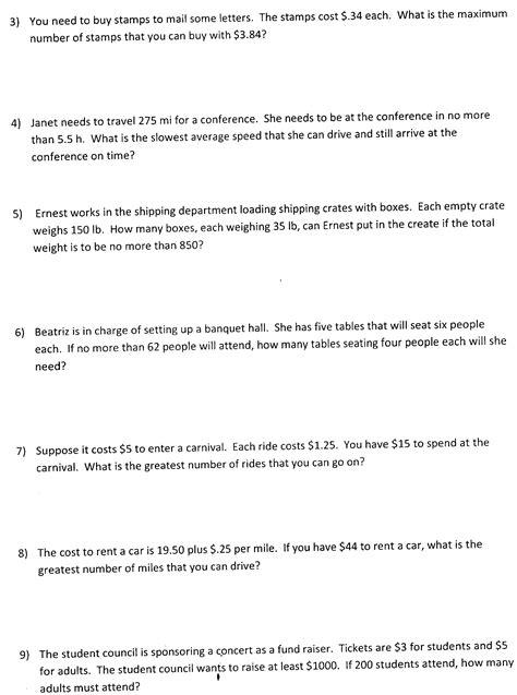 inequality math worksheets algebra 1 worksheets